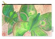 Lighthearted In Green On Red Carry-all Pouch