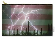 Lightning Storm In The Usa Desert Flag Background Carry-all Pouch