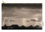 Lightning Thunderstorm July 12 2011 Strikes Over The City Sepia Carry-all Pouch