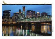 Ligth Trails On Hawthorne Bridge At Blue Hour Carry-all Pouch