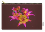 Lily Flowers Pink Maroon Carry-all Pouch