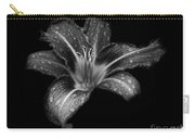 Lily Raindrops In Giverny, France, Black And White Carry-all Pouch