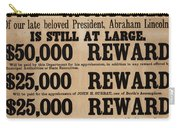 Lincoln Assassination Reward Poster Carry-all Pouch