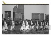 Line Of Boats On The Charles River Boston Ma Black And White Carry-all Pouch