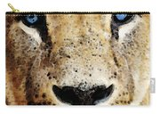 Lion Art - Blue Eyed King Carry-all Pouch by Sharon Cummings