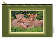 Lion Cubs. L A With Decorative Ornate Printed Frame. Carry-all Pouch