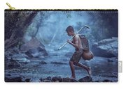 Little Asian Kid Fishing In The River Countryside Thailand. Carry-all Pouch