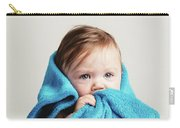 Little Baby Girl Tucked In A Cozy Blue Blanket. Carry-all Pouch