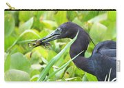 Little Blue Heron Catches A Frog Carry-all Pouch