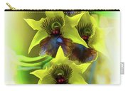 Little Green Apple Orchid On White Carry-all Pouch