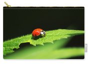 Little Red Ladybug On Green Leaf Carry-all Pouch by Christina Rollo