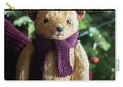 Little Sweet Teddy Bear With Knitted Scarf Under The Christmas Tree Carry-all Pouch