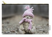 Little Teddy Bear Sitting In Knitted Scarf And Cap In The Winter Forest Between The Rails Carry-all Pouch