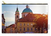 Ljubljana Church And Square Sunset View Carry-all Pouch