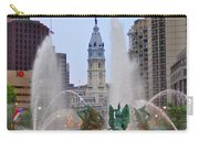 Logan Circle Fountain With City Hall In Backround 4 Carry-all Pouch by Bill Cannon