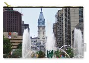 Logan Circle Fountain With City Hall In Backround Carry-all Pouch by Bill Cannon