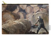 Logger Cutting Tree Trunk, Cameroon Carry-all Pouch