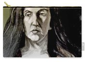 Portrait Of A Beauty With Long Dark Hair In Novelty Neckline Carry-all Pouch by Greta Corens