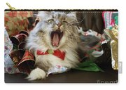 Long Haired Grey And White A Cat Yawns Amid Christmas Wrapping Paper Carry-all Pouch