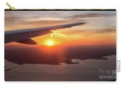 Looking At Sunset From Airplane Window With Lake In The Backgrou Carry-all Pouch
