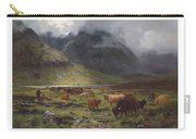 Louis Bosworth Hurt 1856-1929 Highland Cattle In A Glen Carry-all Pouch