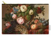Louis Vidal, Still Life With Flowers And Fruit Carry-all Pouch