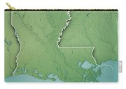 Louisiana State Usa 3d Render Topographic Map Border Carry-all Pouch