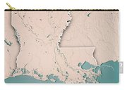 Louisiana State Usa 3d Render Topographic Map Neutral Border Carry-all Pouch