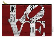 Love Sign Vintage License Plates On Red Barn Wood Carry-all Pouch