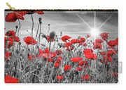 Lovely Field Of Poppies With Sun  Carry-all Pouch