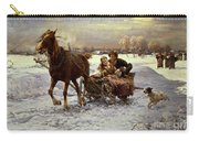 Lovers In A Sleigh Carry-all Pouch by Alfred von Wierusz Kowalski