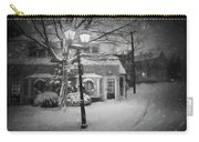 Mablehead Market Square Snowstorm Old Town Evening Black And White Painterly Carry-all Pouch