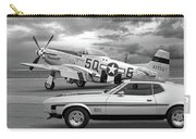 Mach 1 Mustang With P51 In Black And White Carry-all Pouch