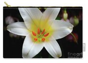 Macro Close Up Of White Lily Flower In Full Blossom Carry-all Pouch