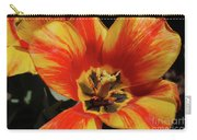 Macro Of A Blooming Striped Yellow And Red Tulip Carry-all Pouch