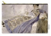 Madame Monet On A Sofa Carry-all Pouch by Pierre Auguste Renoir