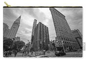 Madison Square Flatiron And Clock Tower New York Ny Black And White Carry-all Pouch