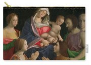 Madonna And Child With Saint John The Baptist Two Saints And Donors Carry-all Pouch