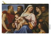 Madonna And Child With Saints And Donors Carry-all Pouch