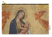 Madonna Of Humility The Blessing Christ Two Angels And A Donor Carry-all Pouch