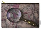 Magnifying  Glass On Old Map Carry-all Pouch