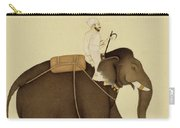Mahout Riding An Elephant Painting - 18th Century Carry-all Pouch