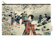 Maids In A Snow Covered Garden Carry-all Pouch by Hiroshige