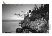 Maine Acadia Bass Harbor Lighthouse In Black And White Carry-all Pouch by Ranjay Mitra