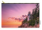 Maine Acadia Bass Harbor Lighthouse Sunset Carry-all Pouch by Ranjay Mitra