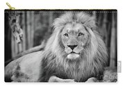Majestic Male Lion Black And White Photo Carry-all Pouch