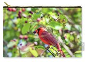 Male Cardinal And His Berry Carry-all Pouch by Kerri Farley
