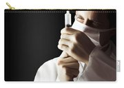 Male Doctor With Needle Syringe On Dark Background Carry-all Pouch