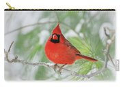 Male Northern Cardinal In Winter - 2 Carry-all Pouch