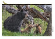 Mama Black Bear With Cinnamon Cubs Carry-all Pouch
